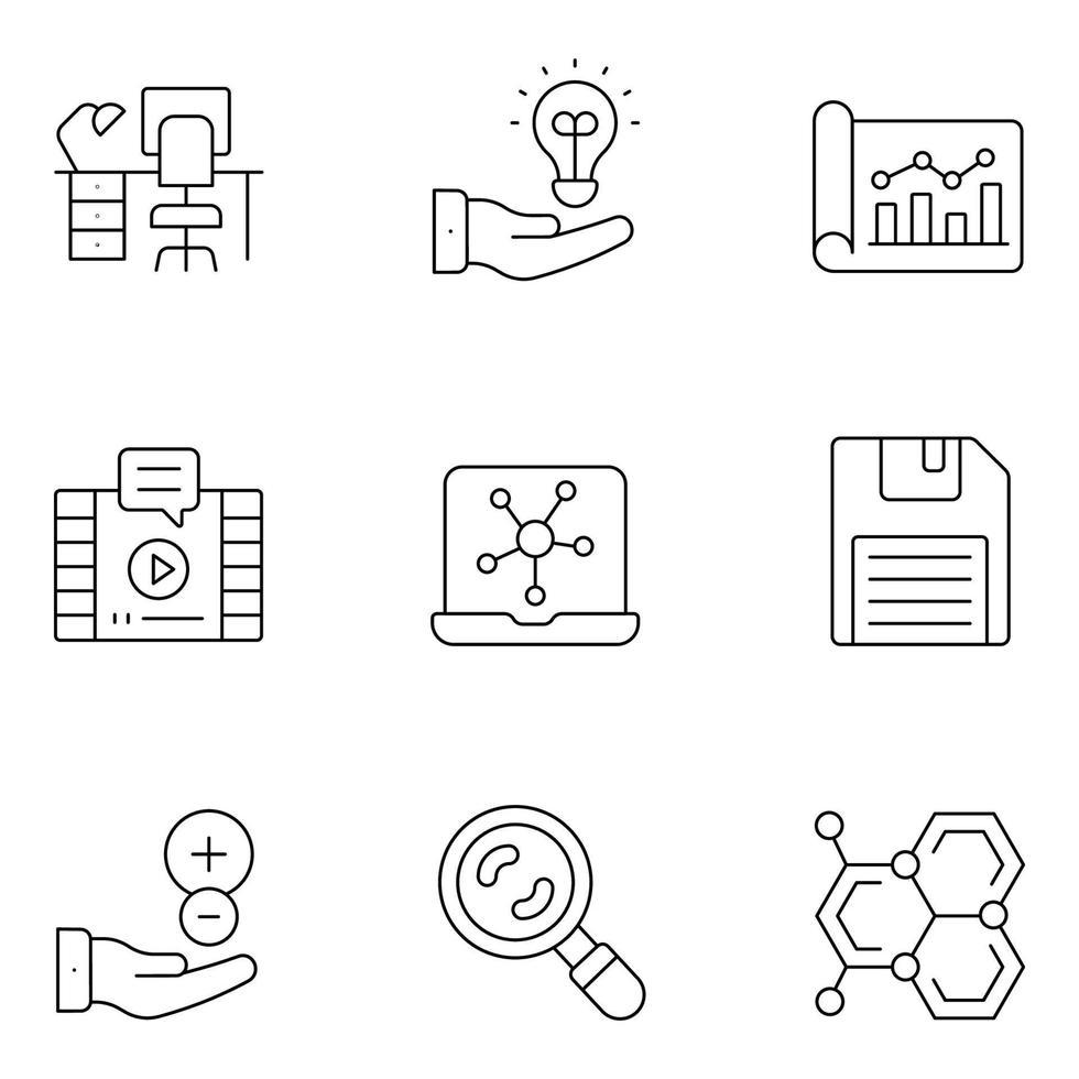 ícones de linha fina ciência e educação vetor