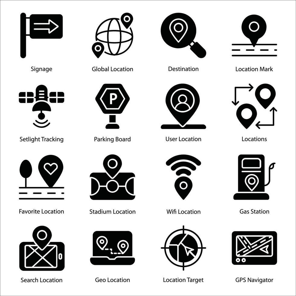 conjunto de ícones de glifo de mapa e navegação vetor