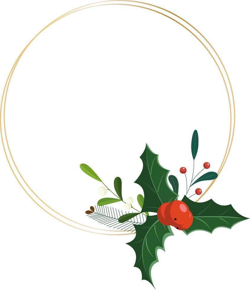 desenho de círculo botânico festivo com folhas e frutos de inverno. vetor