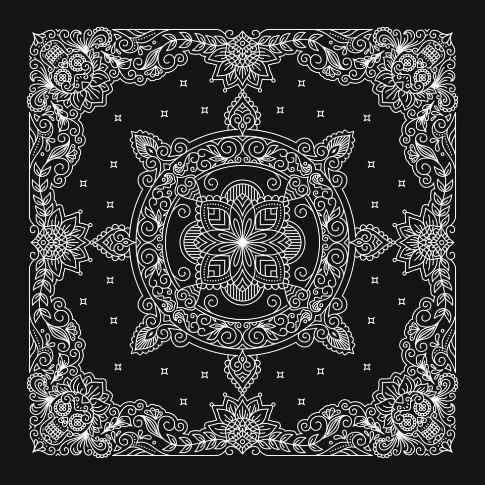 desenho de bandana, padrão de enfeite de bandana com caveira de açúcar vetor