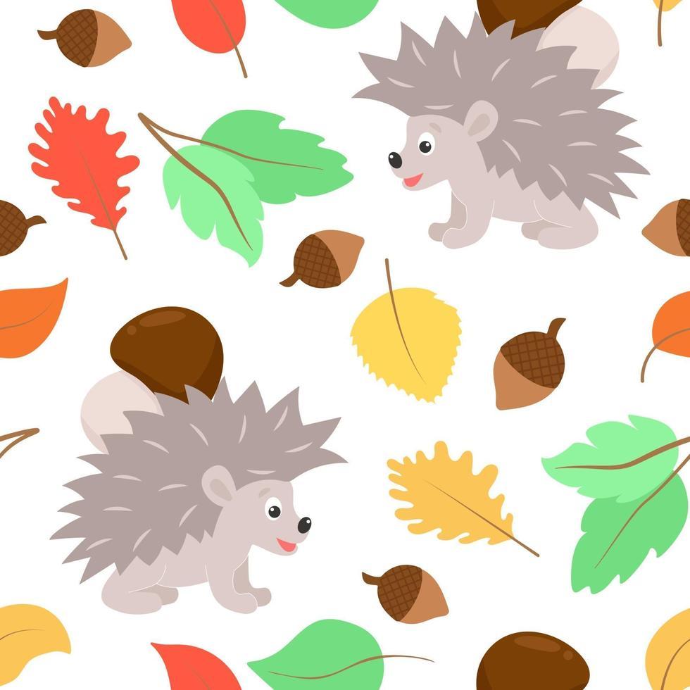 ouriço padrão de outono carrega um cogumelo e folhas caindo vetor