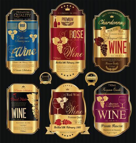 Coleção de vetores de rótulos de vinho dourado de luxo