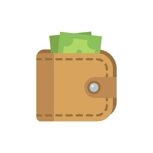 Carteira de couro com ícone de dinheiro isolado vector plana