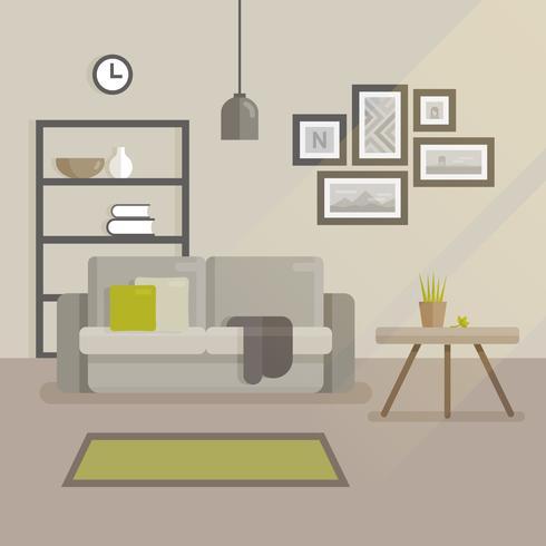Ilustração plana de design de interiores escandinavos. Interior moderno quarto mínimo. Sofá com almofadas, conjunto de fotos na parede, mesa de cama com um vaso de flores vetor