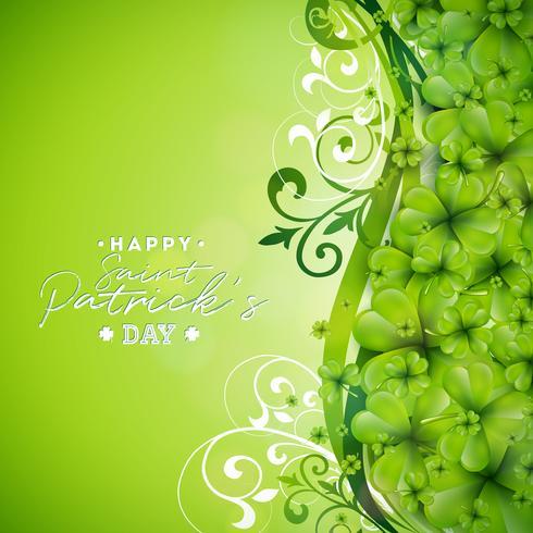 Design de plano de fundo do dia de Saint Patrick com trevos verdes vetor