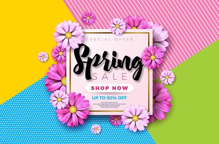 Projeto de plano de fundo de venda de primavera com linda flor colorida vetor