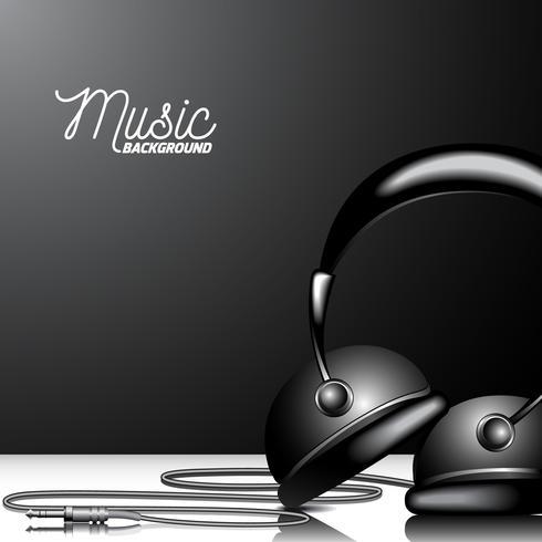 Ilustração para o tema musical com o auscultadores no fundo preto. vetor