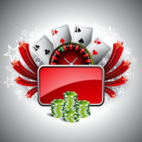 Vector a ilustração em um tema do casino com whell da roleta, jogando cartas e microplaquetas de pôquer.