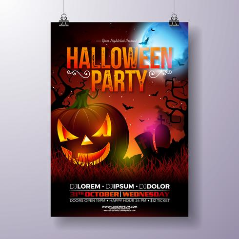 Ilustração em vetor flyer festa Halloween