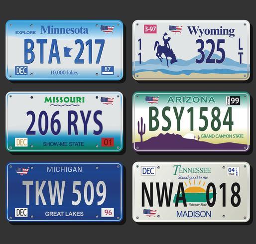 Estados Unidos License Plates vintage collection vetor