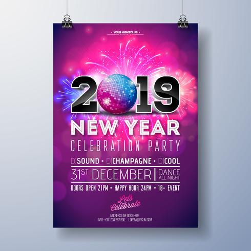 Ilustração de modelo de cartaz de celebração de festa de ano novo vetor