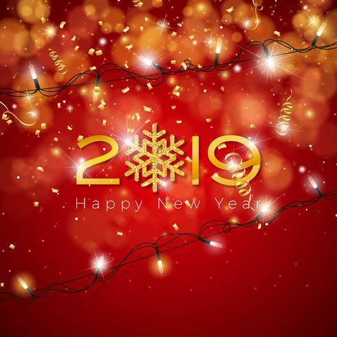 Feliz ano novo, ilustração vetor