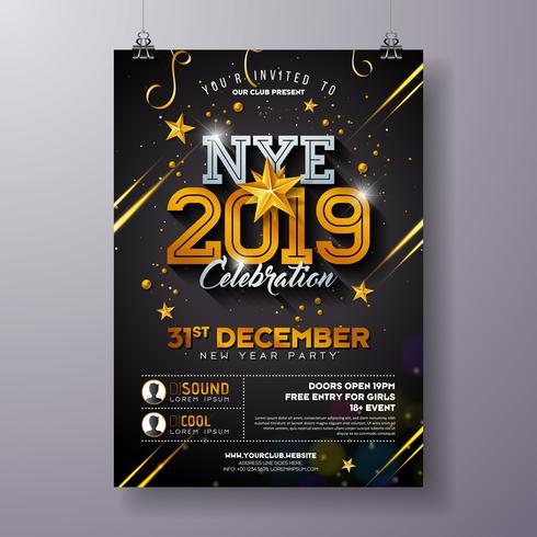 Cartaz de celebração de festa de ano novo vetor