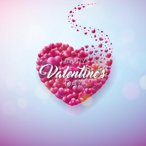 Design de dia dos namorados com coração vermelho vetor