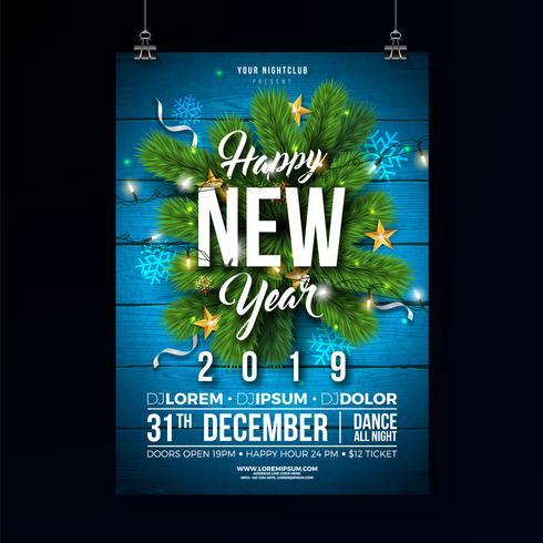 Ilustração de cartaz de festa de ano novo 2019 vetor