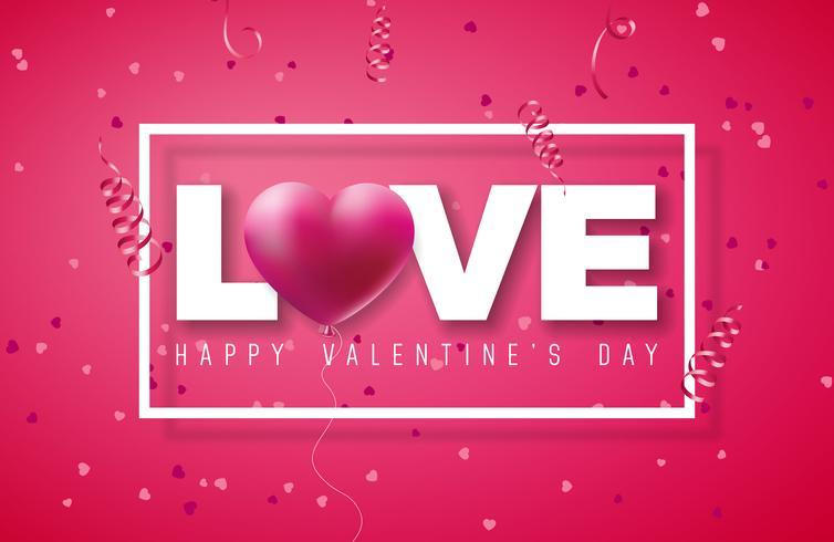 Design de dia dos namorados com balão de coração vermelho vetor