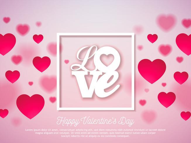 Design de dia dos namorados com coração vermelho e amor vetor