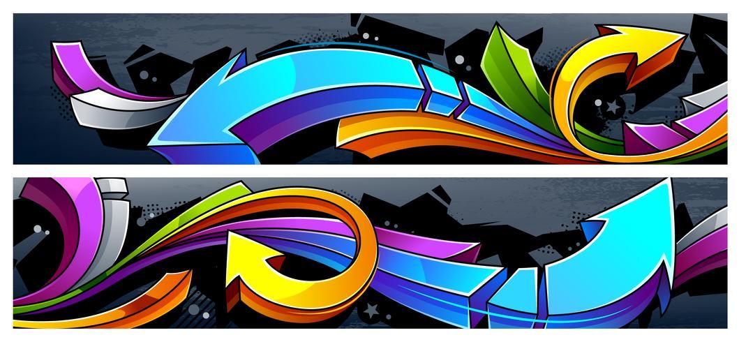 Banners de flechas de grafite vetor