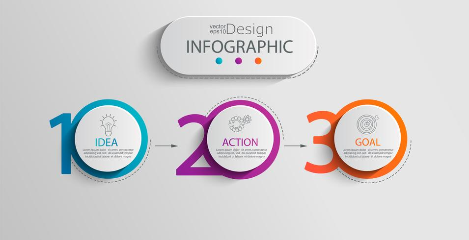 Modelo de papel infográfico com 3 opções de círculo. vetor