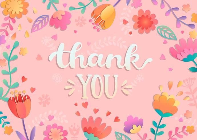 Obrigado letras manuscritas com flores. vetor