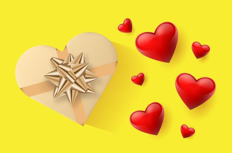 Papel de parede festivo decorado com corações e presentes. Ilustração vetorial vetor