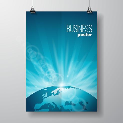 Ilustração de panfleto de negócios com globo vetor