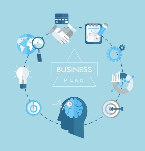 Ilustração lisa dos ícones do conceito do plano de negócios. vetor