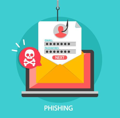 Login de phishing e senha no gancho de pesca. vetor
