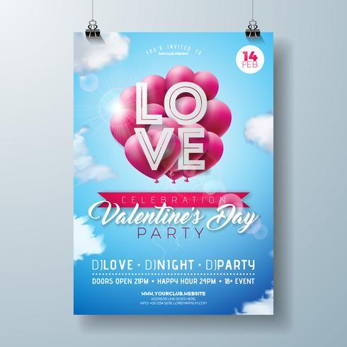 Panfleto de festa de dia dos namorados vetor