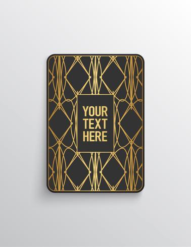 Olhar premium elegante. Forma de cartão cinza escuro com padrão de ouro. Ilustração vetorial vetor