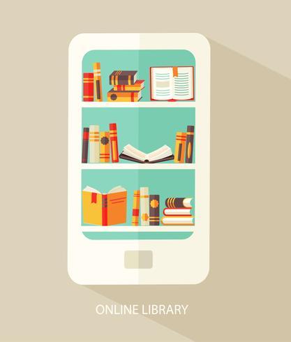 Conceito para biblioteca digital. vetor