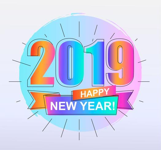 2019 feliz ano novo cartão colorido. vetor