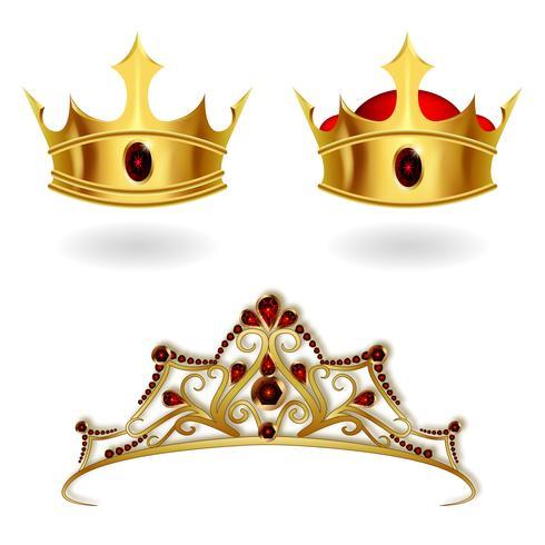 Um conjunto de coroas de ouro realistas e uma tiara vetor