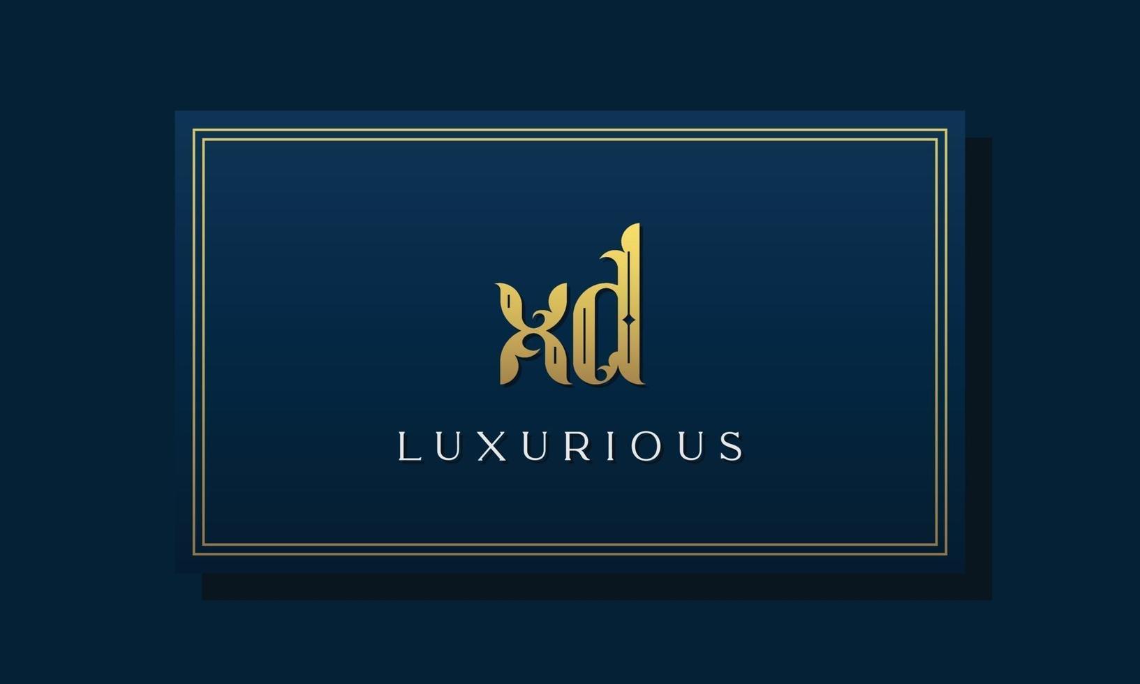 logotipo vintage real letras iniciais xd. vetor