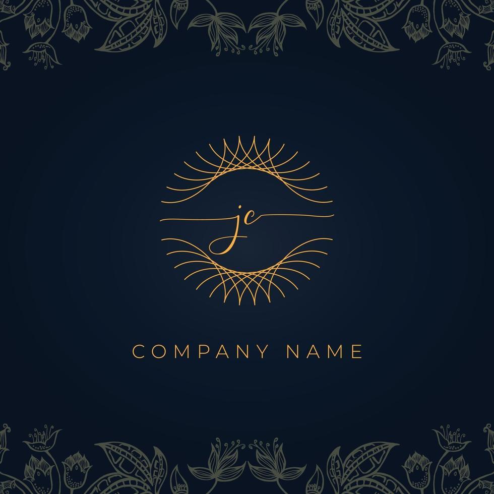 logotipo de letra jc de luxo elegante. vetor