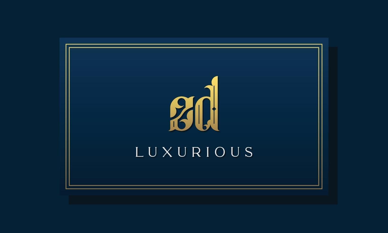 logotipo do zd das letras iniciais reais reais. vetor