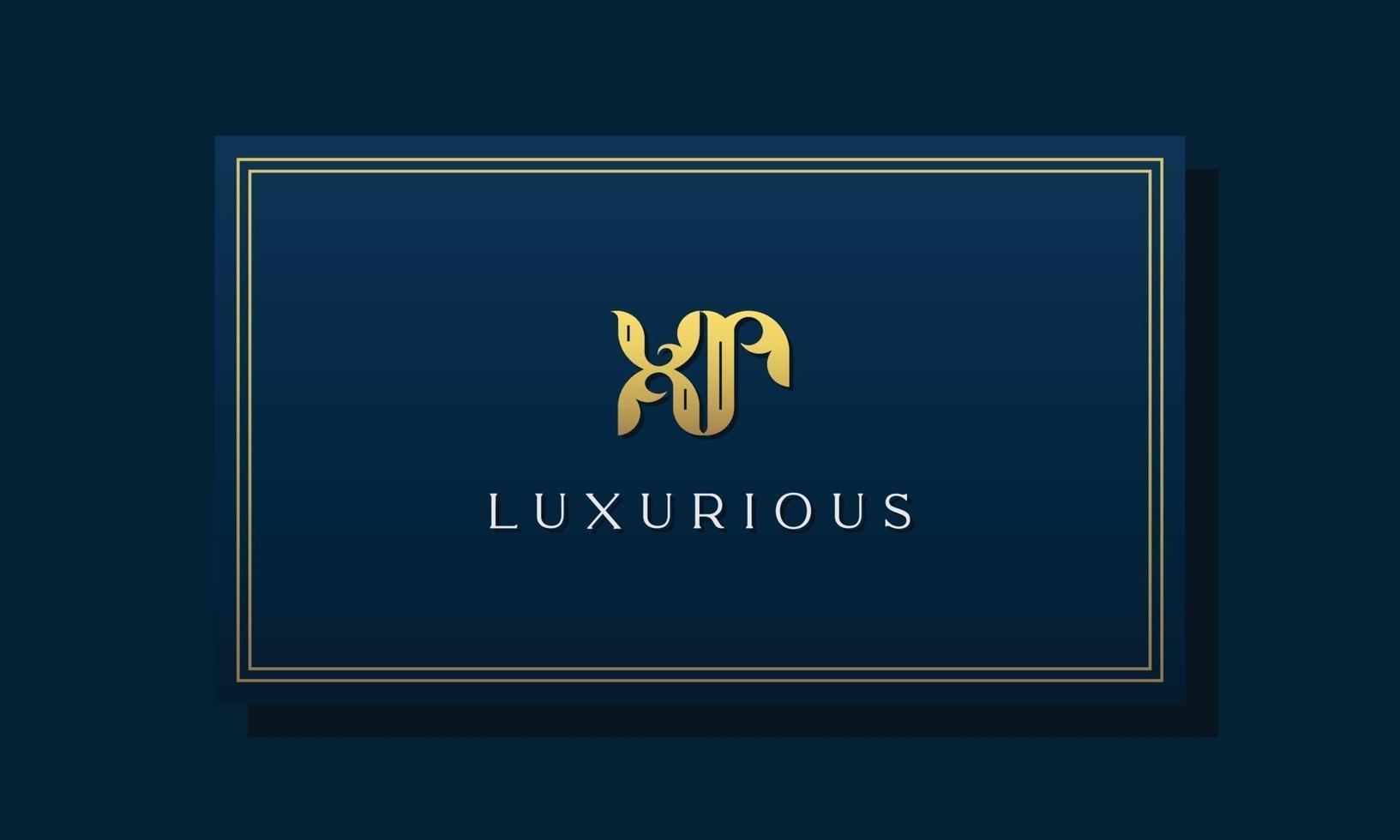 logotipo vintage real letras iniciais xr. vetor