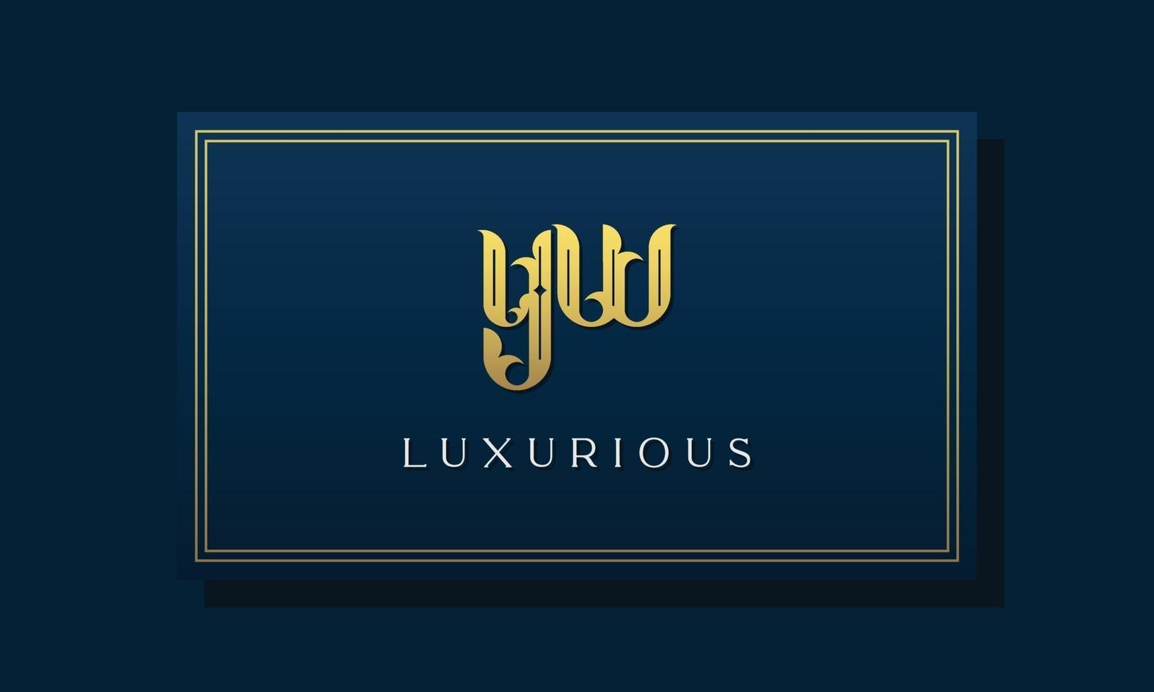 logotipo de yw de letra inicial real vintage. vetor