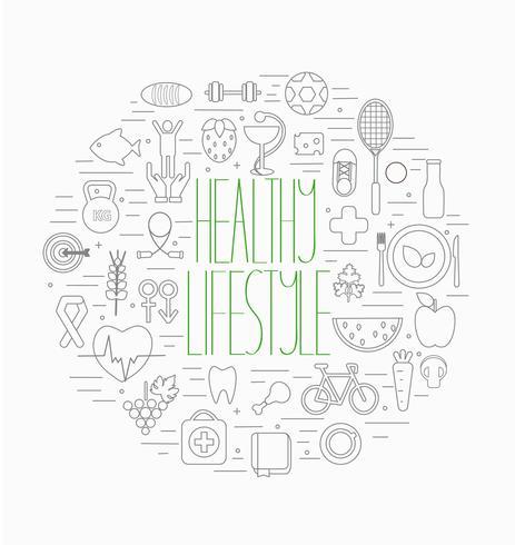 Conjunto de símbolos de estilo de vida saudável vetor