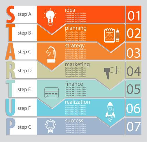 Infográfico do conceito de inicialização. vetor