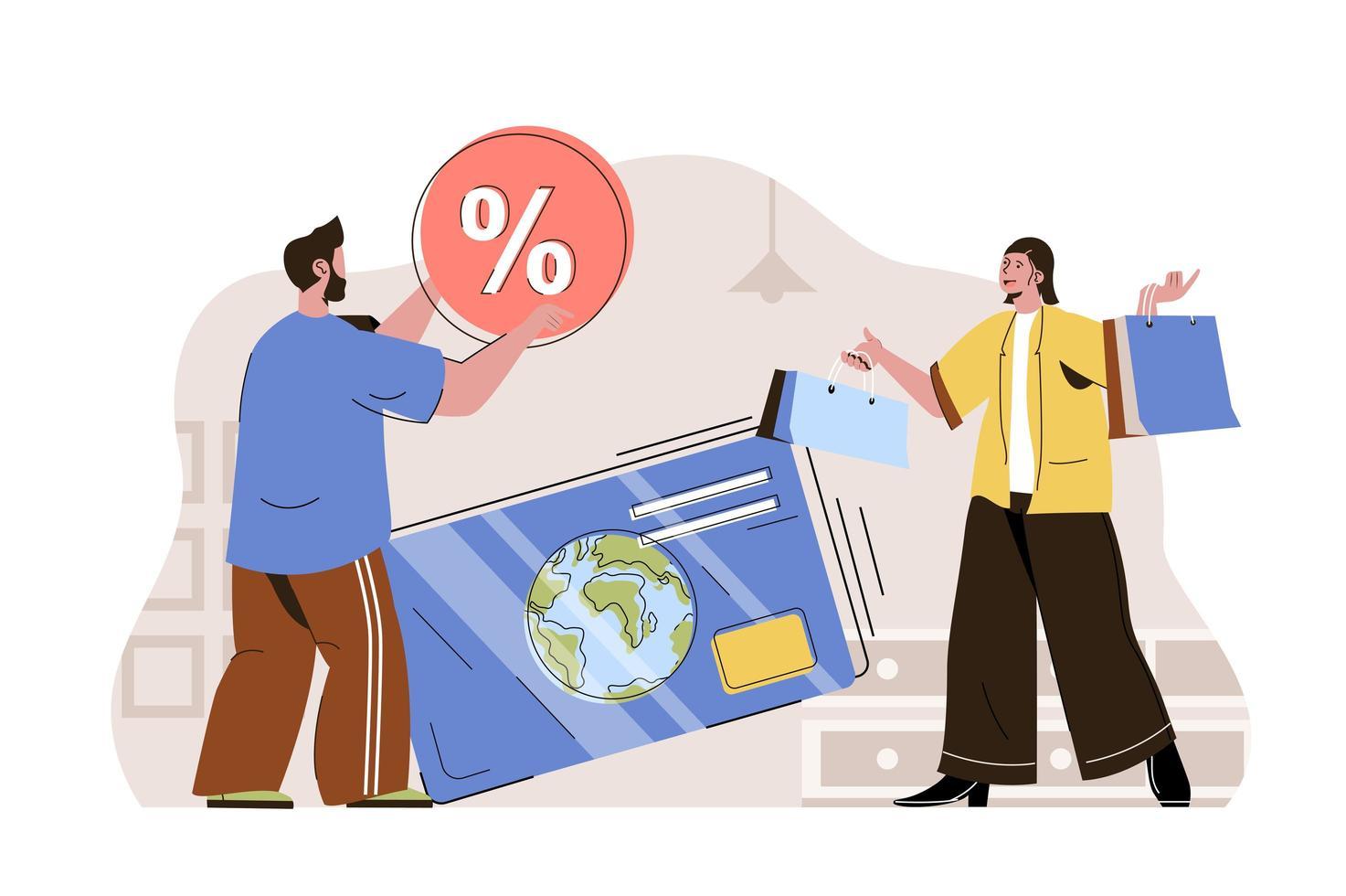 conceito de pagamentos sem dinheiro para site e site móvel vetor