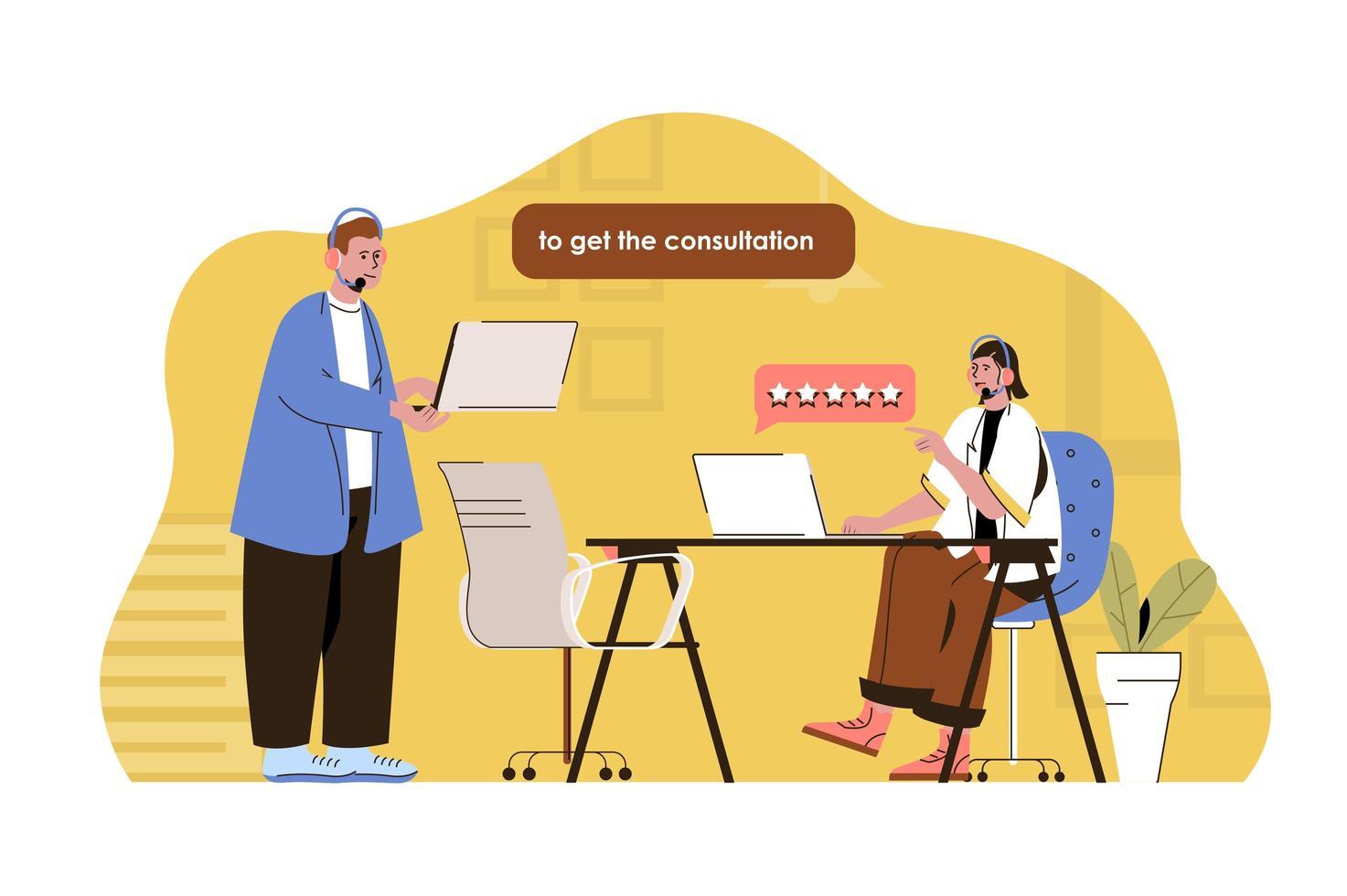conceito de call center para site e site móvel vetor