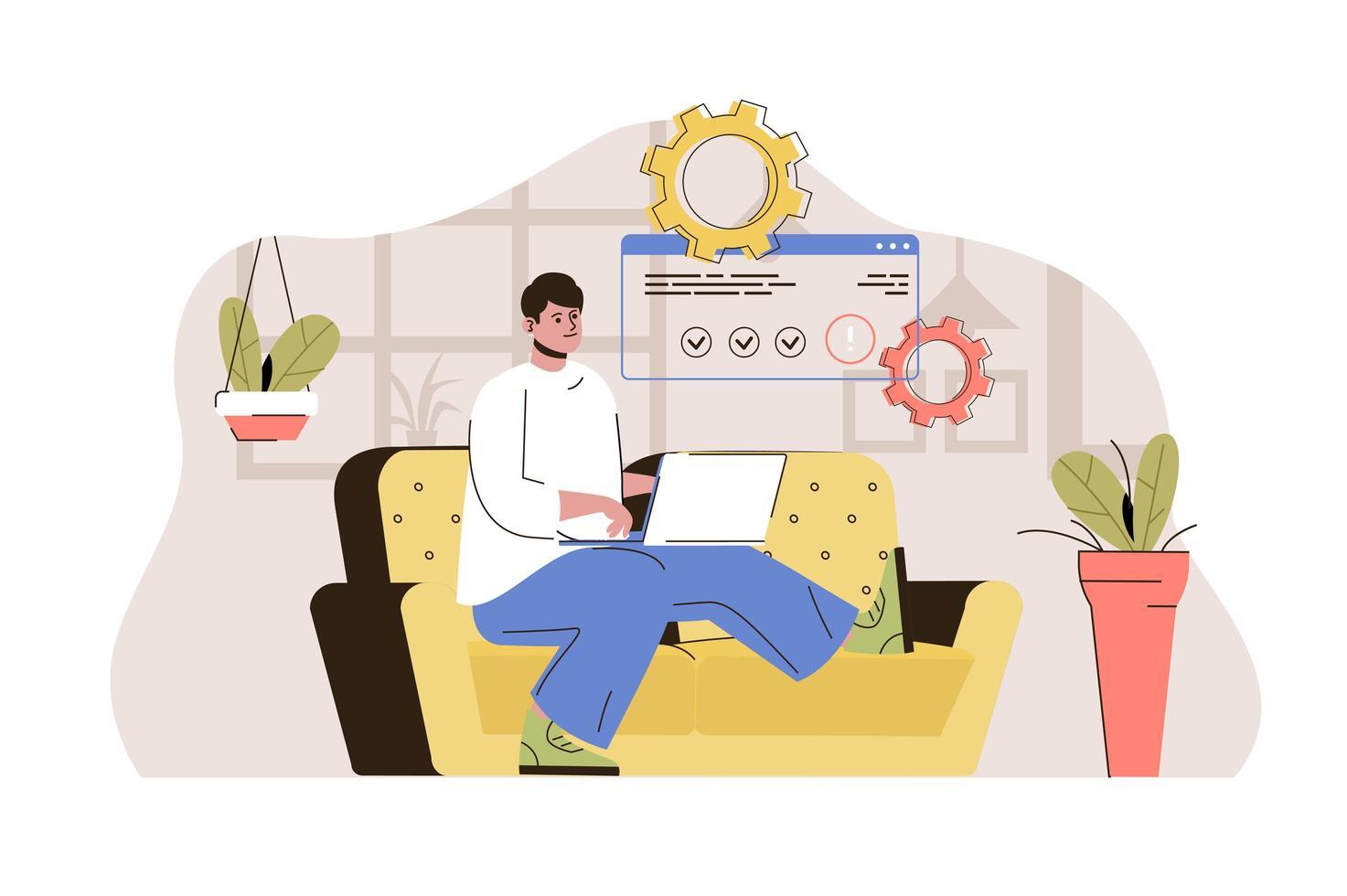 conceito de trabalho freelance para website e site móvel vetor