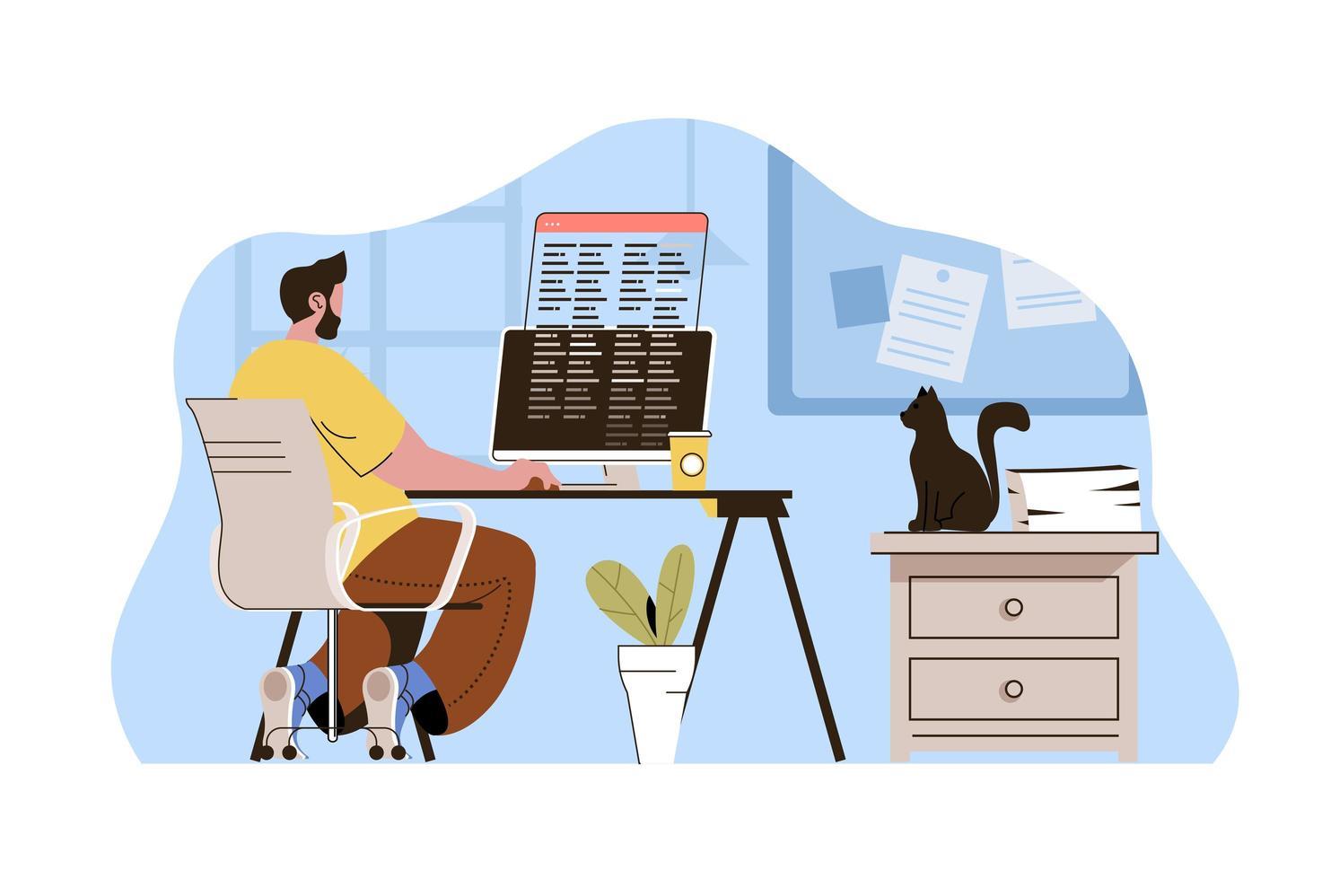 conceito de freelancer de sucesso para website e site móvel vetor