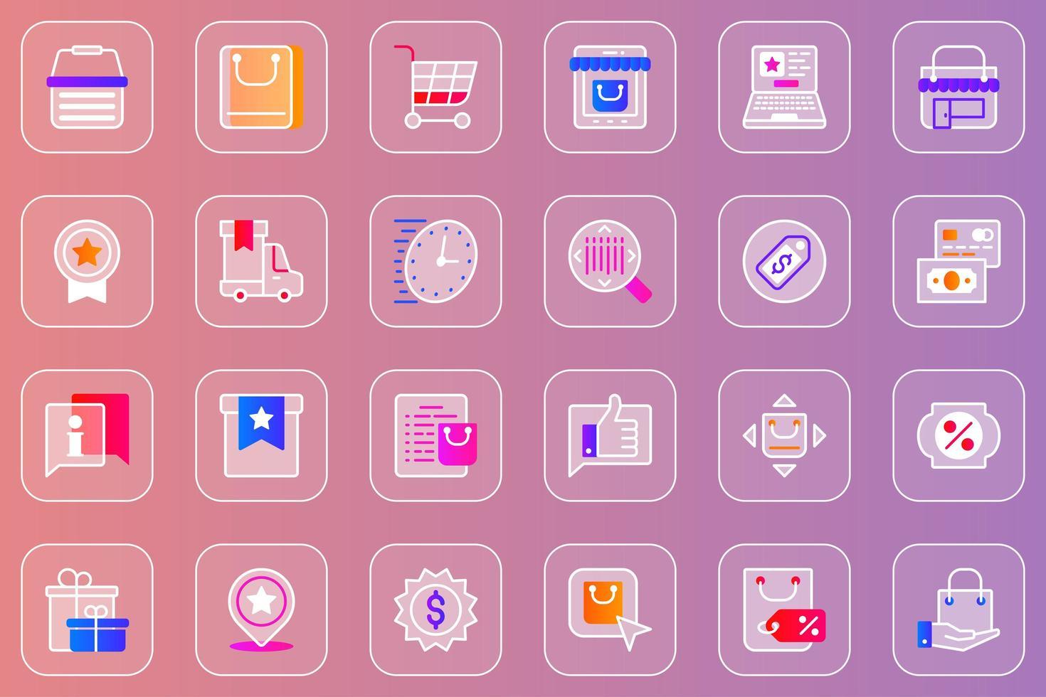 conjunto de ícones glassmorphic de compras online vetor
