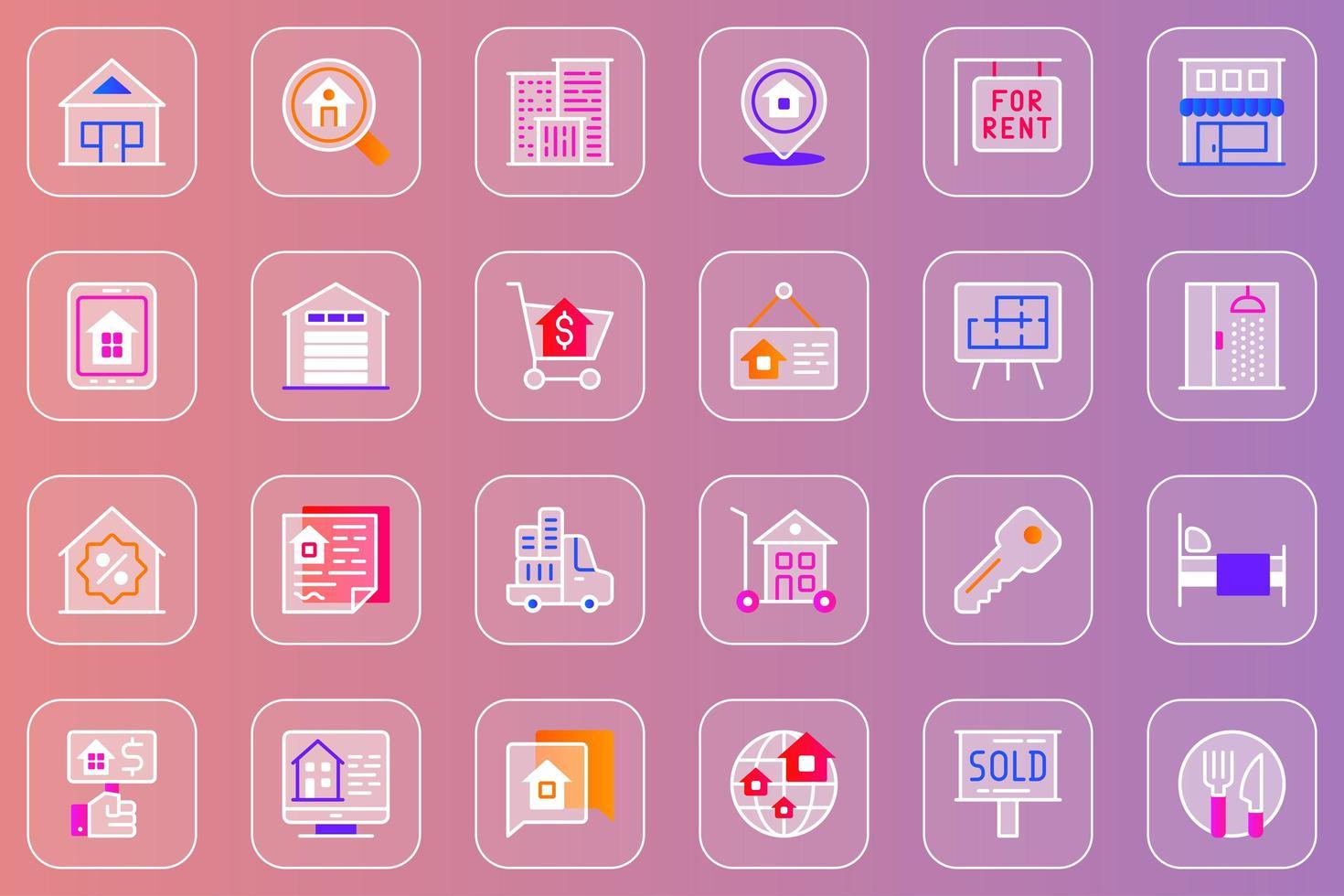 conjunto de ícones glassmorphic da web imobiliária vetor