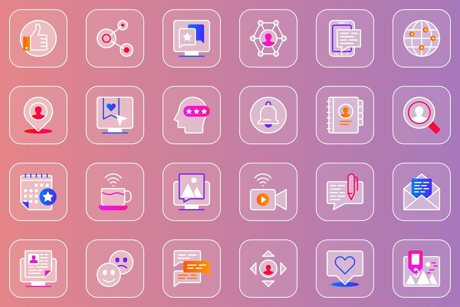 conjunto de ícones de glassmorphic da web de rede social vetor