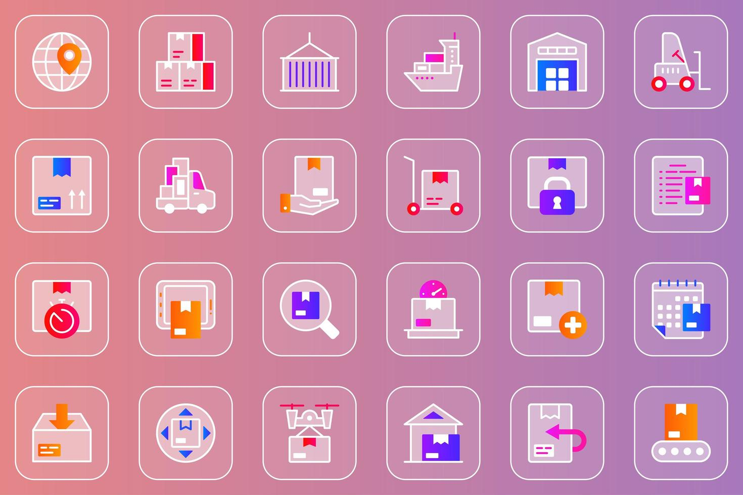 conjunto de ícones do serviço de entrega web glassmorphic vetor
