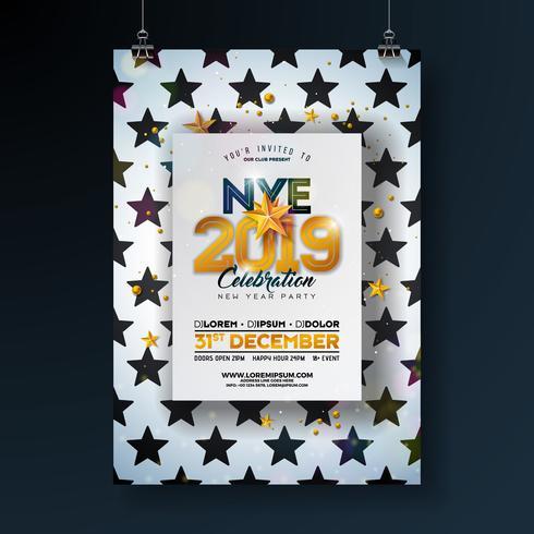 Cartaz da celebração do partido do ano 2018 novo vetor