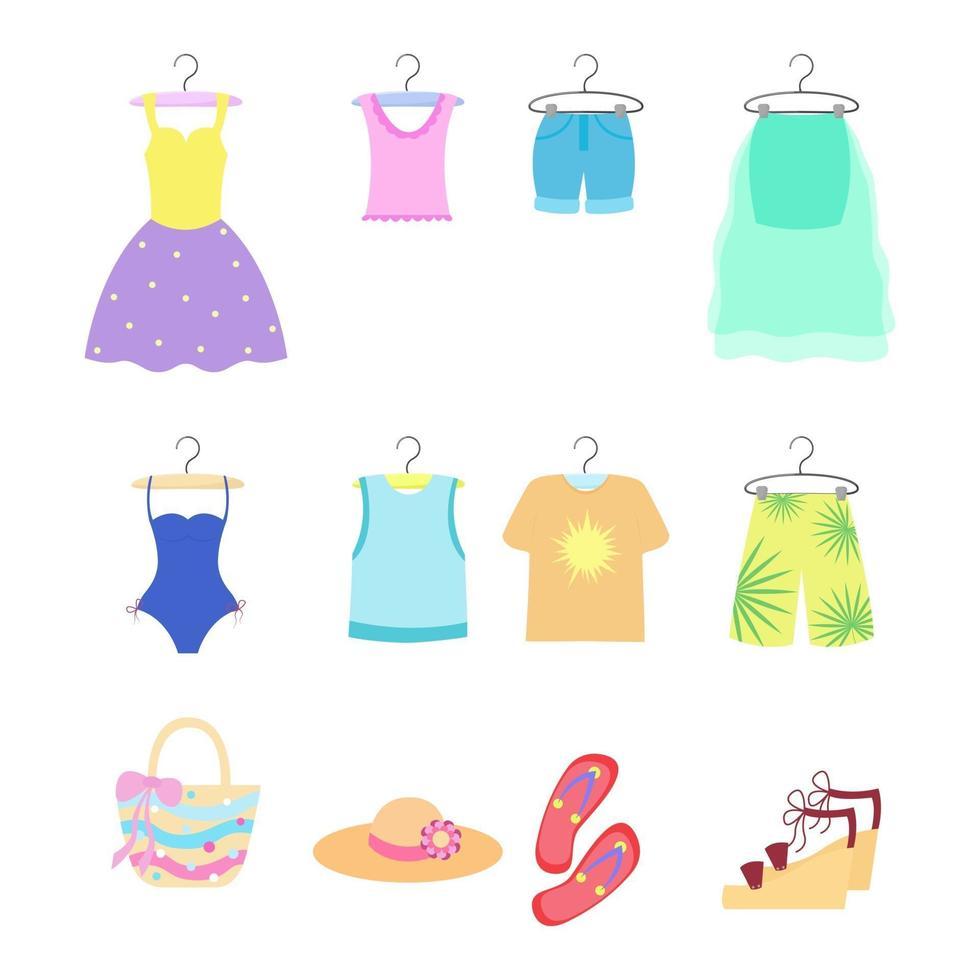 conjunto de roupas de verão isolado. roupas e acessórios femininos e masculinos vetor